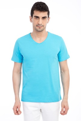 Erkek Giyim - Açık Mavi M Beden V Yaka Nakışlı Regular Fit Tişört