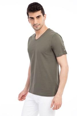 Erkek Giyim - HAKİ 3X Beden V Yaka Nakışlı Regular Fit Tişört