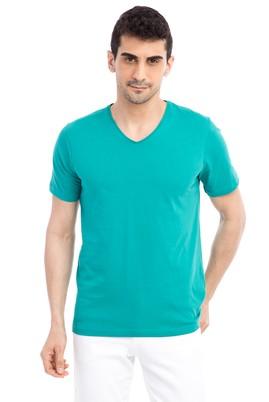 Erkek Giyim - Acık Yesıl S Beden V Yaka Nakışlı Regular Fit Tişört