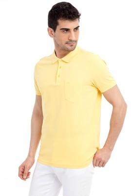 Erkek Giyim - Sarı XXL Beden Polo Yaka Regular Fit Tişört