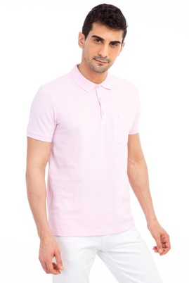 Erkek Giyim - Pembe 3X Beden Polo Yaka Regular Fit Tişört
