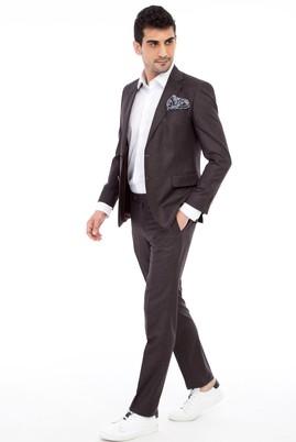 Erkek Giyim - Kahve 48 Beden Slim Fit Desenli Takım Elbise