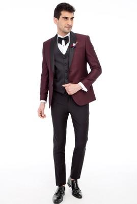 Erkek Giyim - Bordo 48 Beden Slim Fit Şal Yaka Desenli Smokin / Damatlık