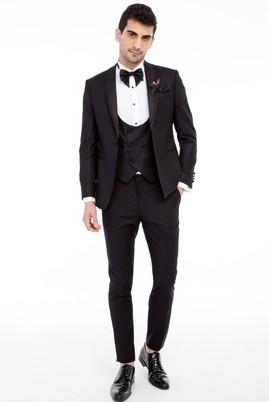 Erkek Giyim - Siyah 46 Beden Slim Fit Mono Yaka Desenli Smokin / Damatlık