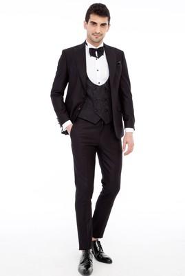 Erkek Giyim - Siyah 48 Beden Slim Fit Sivri Yaka Desenli Smokin / Damatlık