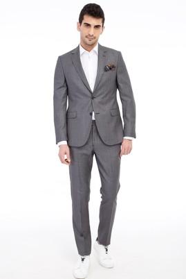 Erkek Giyim - Füme Gri 48 Beden Slim Fit Kuşgözü Takım Elbise