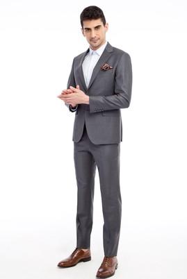 Erkek Giyim - Orta füme 48 Beden Slim Fit Çizgili Yünlü Takım Elbise
