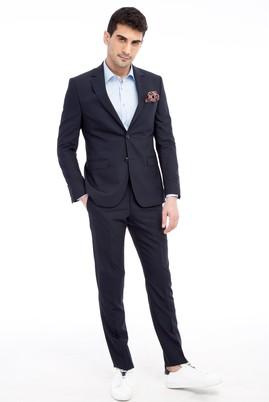 Erkek Giyim - KOYU MAVİ 50 Beden Slim Fit Çizgili Takım Elbise