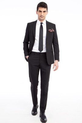 Erkek Giyim - Siyah 56 Beden Çizgili Takım Elbise