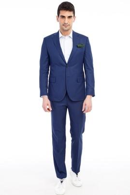 Erkek Giyim - Mavi 44 Beden Slim Fit Kareli Takım Elbise