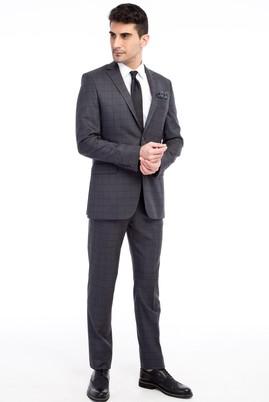 Erkek Giyim - Füme Gri 50 Beden Kareli Takım Elbise