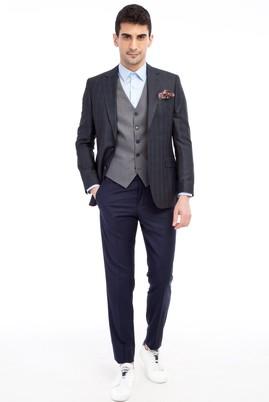 Erkek Giyim - Lacivert 50 Beden Yelekli Kombinli Kareli Takım Elbise