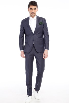 Erkek Giyim - Marengo 44 Beden Slim Fit Kareli Takım Elbise