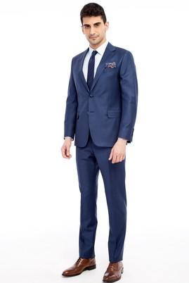Erkek Giyim - KOYU MAVİ 48 Beden Kareli Takım Elbise