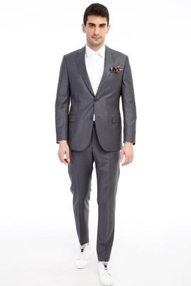 Erkek Giyim - Füme Gri 48 Beden Kareli Takım Elbise