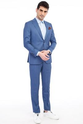 Erkek Giyim - Turkuaz 50 Beden Kuşgözü Takım Elbise