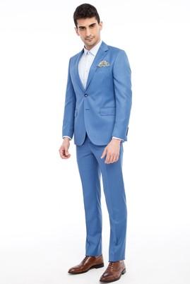 Erkek Giyim - Turkuaz 44 Beden Slim Fit Kuşgözü Takım Elbise