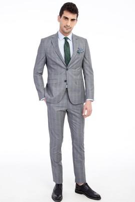 Erkek Giyim - Açık Gri 58 Beden Slim Fit Kareli Takım Elbise