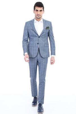 Erkek Giyim - Açık Mavi 44 Beden Kareli Takım Elbise