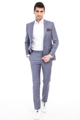 Erkek Giyim - Açık Mavi 46 Beden Slim Fit Kareli Takım Elbise