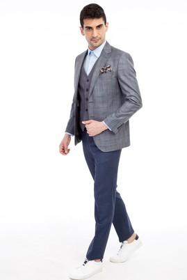 Erkek Giyim - Orta füme 44 Beden Slim Fit Yelekli Kombinli Ekose Takım Elbise