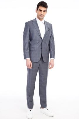 Erkek Giyim - Orta füme 50 Beden Ekose Takım Elbise
