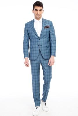 Erkek Giyim - Turkuaz 44 Beden Slim Fit Ekose Takım Elbise