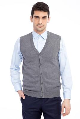 Erkek Giyim - Orta füme XL Beden Slim Fit Düğmeli Yelek