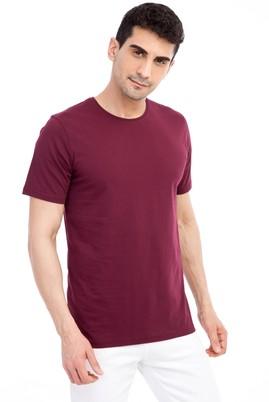 Erkek Giyim - Bordo 3X Beden Bisiklet Yaka Nakışlı Regular Fit Tişört