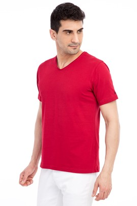 Erkek Giyim - Kırmızı M Beden V Yaka Nakışlı Regular Fit Tişört
