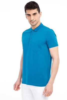 Erkek Giyim - Petrol M Beden Polo Yaka Regular Fit Tişört