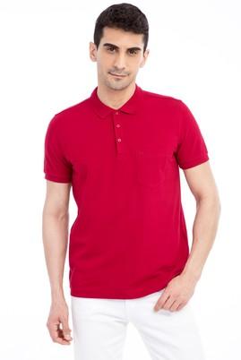 Erkek Giyim - Kırmızı L Beden Polo Yaka Regular Fit Tişört