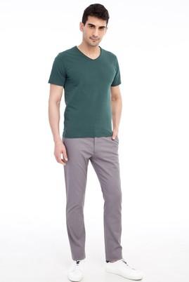 Erkek Giyim - Orta füme 54 Beden Slim Fit Desenli Spor Pantolon