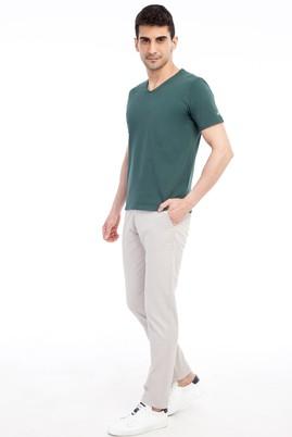 Erkek Giyim - Kum 50 Beden Slim Fit Desenli Spor Pantolon