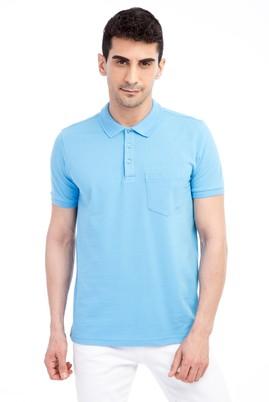 Erkek Giyim - Mavi L Beden Polo Yaka Regular Fit Tişört