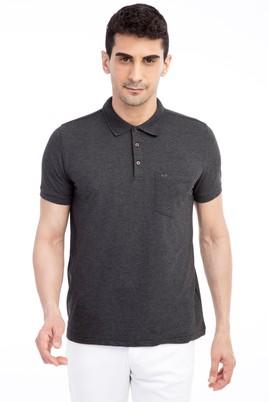 Erkek Giyim - Antrasit 3X Beden Polo Yaka Regular Fit Tişört