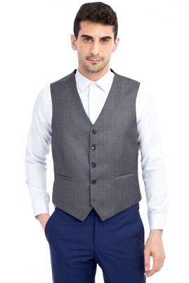 Erkek Giyim - Füme Gri 56 Beden Klasik Çizgili Yelek