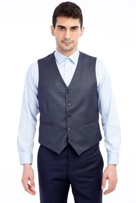Erkek Giyim - Füme Gri 58 Beden Klasik Kuşgözü Yelek