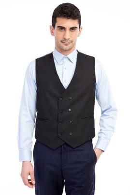 Erkek Giyim - Siyah 46 Beden Desenli Kruvaze Yelek