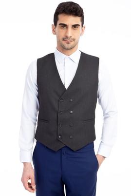 Erkek Giyim - Antrasit 58 Beden Desenli Kruvaze Yelek