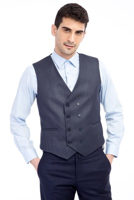 Erkek Giyim - Füme Gri 60 Beden Kuşgözü Kruvaze Yelek