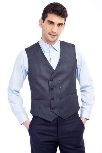 Erkek Giyim - Kuşgözü Kruvaze Yelek