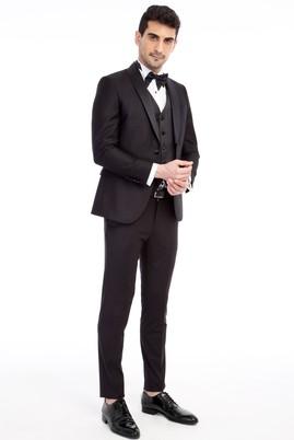 Erkek Giyim - Siyah 52 Beden Slim Fit Şal Yaka Desenli Smokin / Damatlık