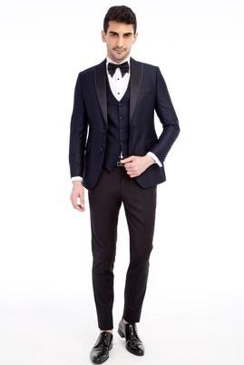 Erkek Giyim - Lacivert 46 Beden Slim Fit Sivri Yaka Desenli Smokin / Damatlık