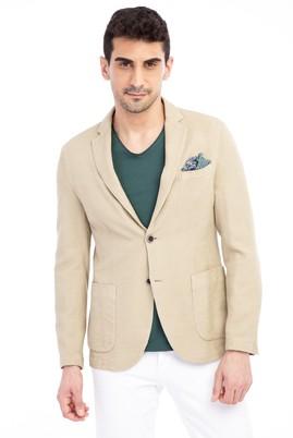 Erkek Giyim - Bej 52 Beden Desenli Ceket