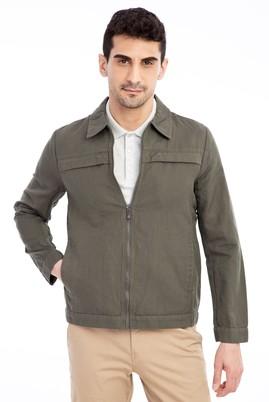 Erkek Giyim - HAKİ 48 Beden Mevsimlik Keten Mont