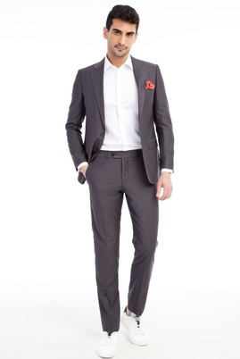 Erkek Giyim - Füme Gri 54 Beden Klasik Takım Elbise