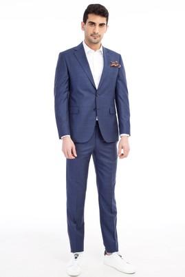 Erkek Giyim - Petrol 46 Beden Slim Fit Kareli Takım Elbise