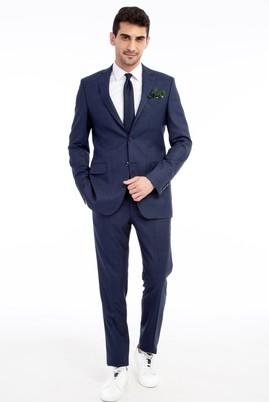 Erkek Giyim - Lacivert 48 Beden Kareli Takım Elbise