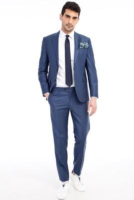 Erkek Giyim - Mavi 50 Beden Slim Fit Kareli Takım Elbise